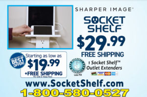 Socket Shelf By Sharper Image Give you a Shelf plus USB Outlets