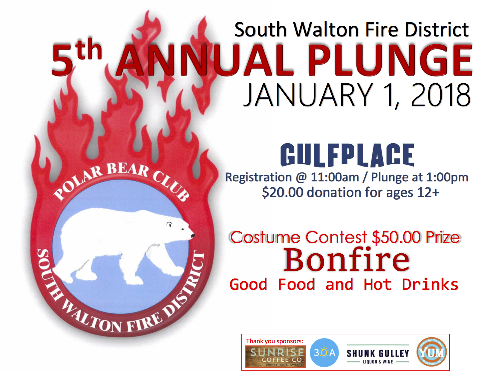 Fifth Annual Polar Plunge at Gulf Place Jan 1st 2018