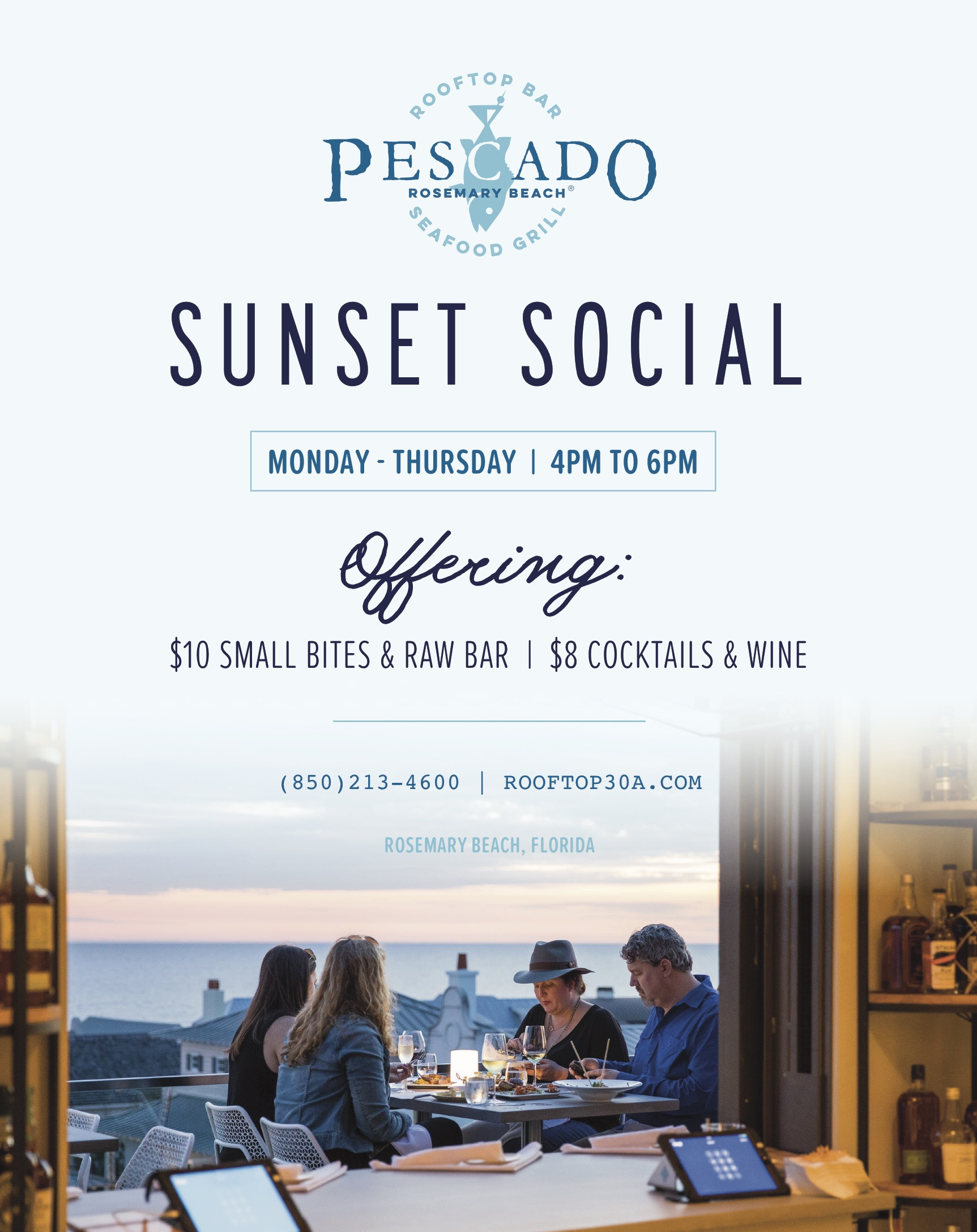 Pescado Rooftop Bar & Seafood Grill Announces 'Sunset Social' Happy Hour and Sunday Brunch