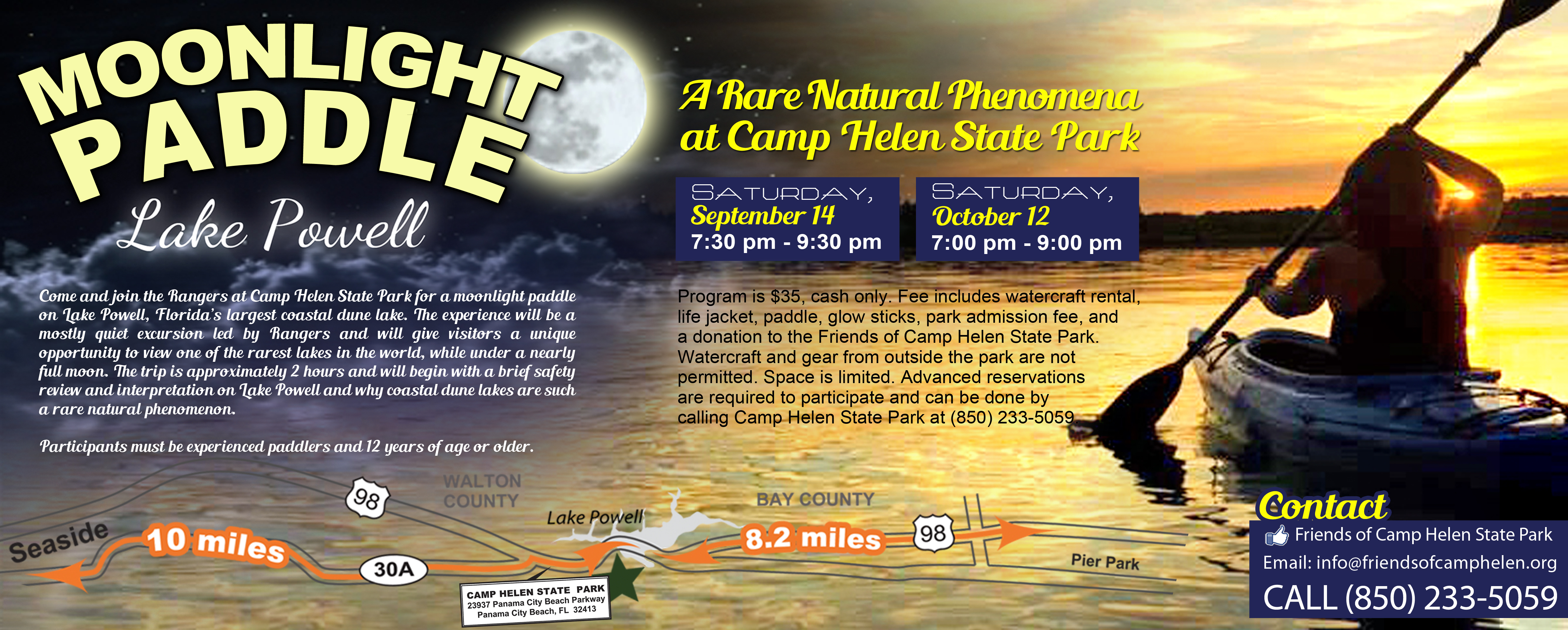 Camp Helen State Park – Moonlight Paddle