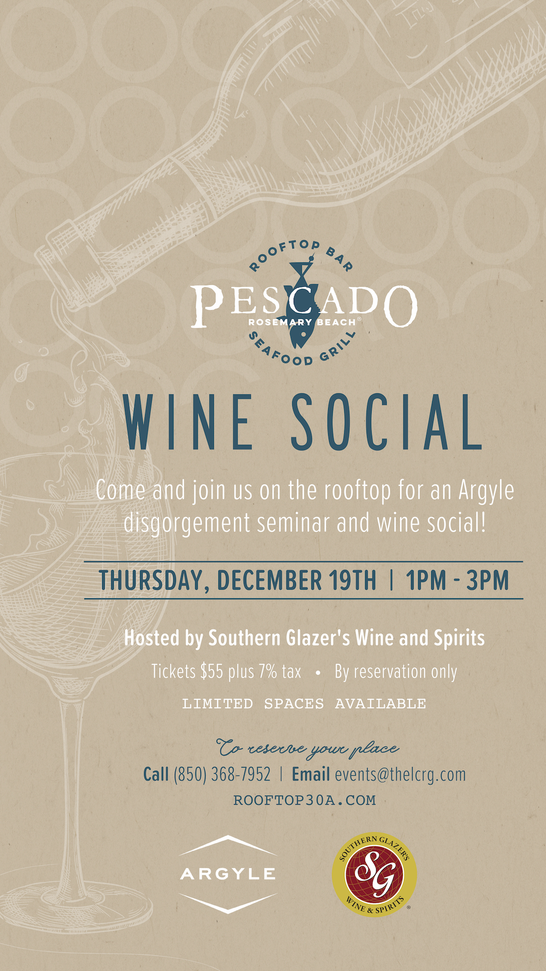 Pescado Seafood Grill and Rooftop Bar Hosts Argyle's Masters of Sparkling Disgorging and Dosage Seminar and Wine Social