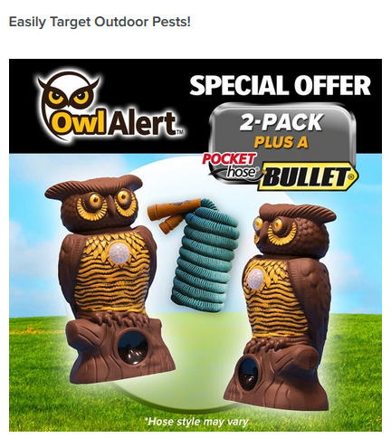 Owl Alert UltraSound Critter Repellant with FREE Pocket Hose 1-800-503-5213