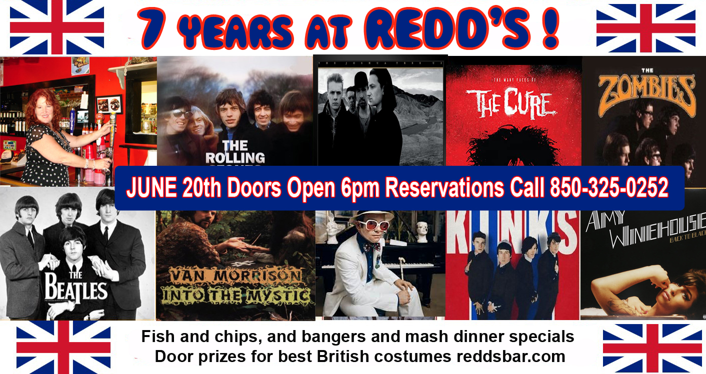 Redd The Singing Bartender Celebrates 7th Anniversary with British Invasion Party