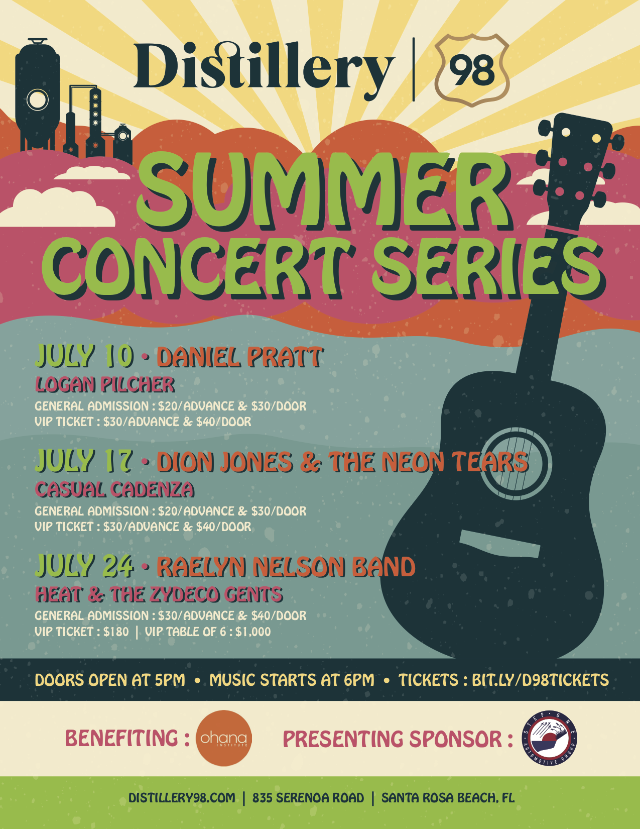 Distillery 98 Launches Summer Concert Series to Benefit The Ohana Institute