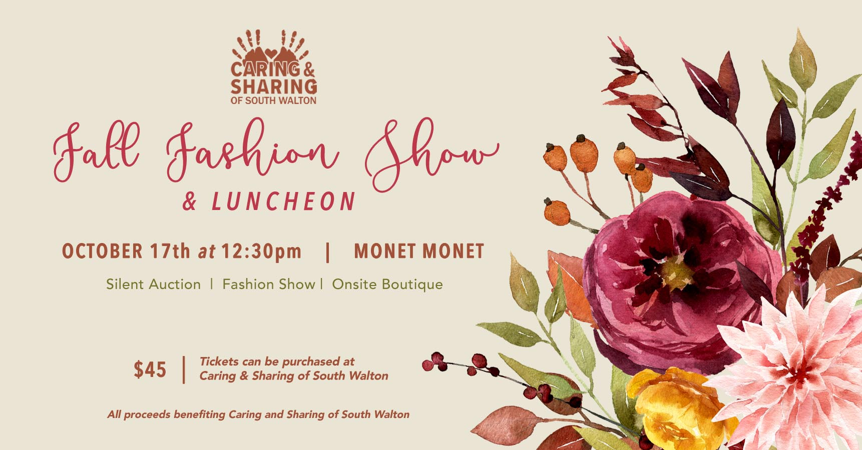 Caring & Sharing of South Walton to hold Fall Fashion Show at Monet Monet