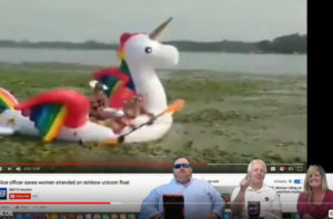 Nothing Scripted Women on inflatable rainbow unicorn