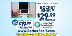Socket Shelf By Sharper Image Give you a Shelf plus USB Outlets