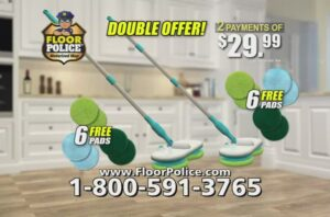 Get Floor Police Motorized Mop with two microfiber pads  Call 1-800-591-3765